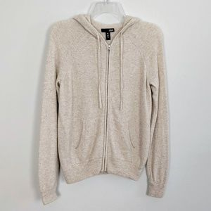 Aqua 100% Cashmere Zip Up Hooded Cardigan